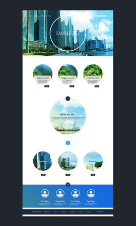 website header: One Page Website Template with Cityscape Skyline Header Design