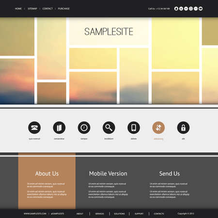 navigation buttons: Website Design for Your Business with Sunset Image