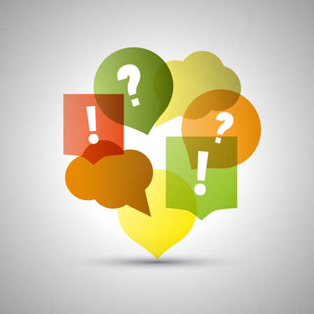 questions: Question and Answer  Colorful Speech Bubbles with Copy Space