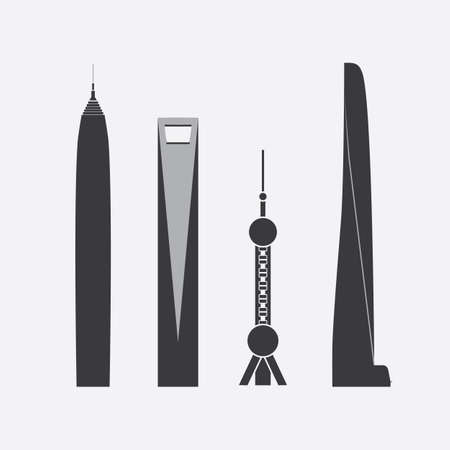 shanghai china: Collection of Icons of Four Towers and Skyscrapers Illustration