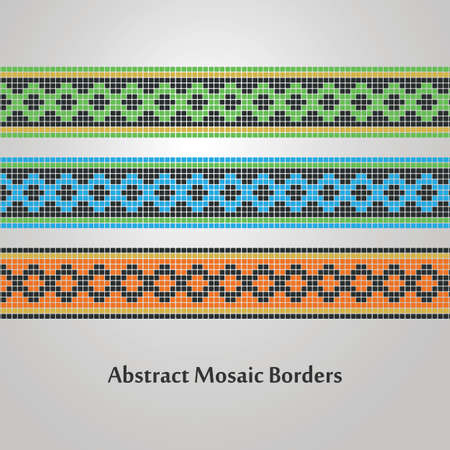 Abstract Colorful Mosaic Border Designs  Various Decoration Elements Vector
