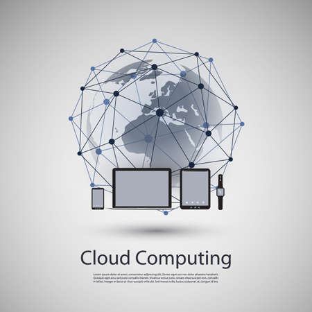Cloud Computing or Global Network Concept Design with Different Kinds of Mobile Devices Vector