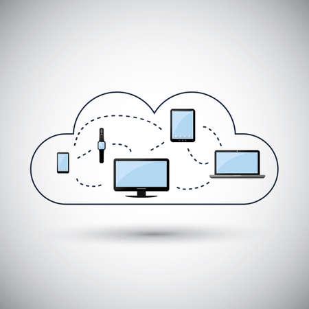 telecommunication: Cloud Computing Concept Design Illustration