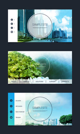 Web Design Elements  Header Designs with Natural and Urban Images Background Vector