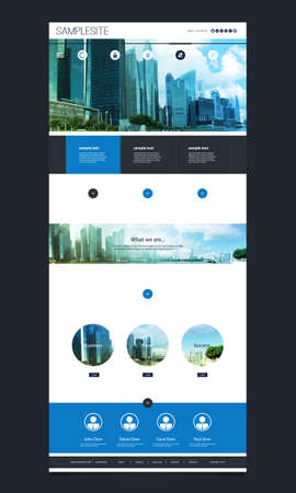 page views: One Page Website Template with Cityscape Skyline Header Design