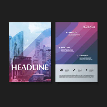 Flyer or Cover Design Set for Your Business  Colorful Striped Pattern with Skyscrapers