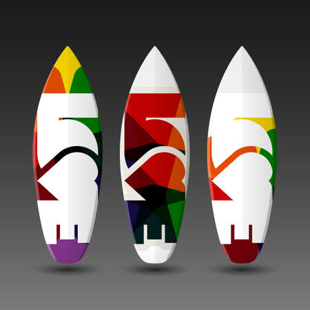 Surfboard Design Templates with Abstract LOVE Label Vector