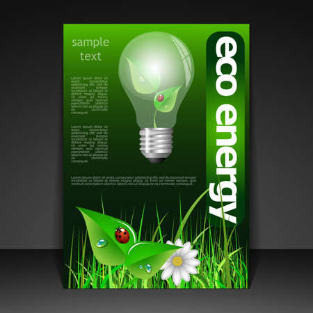 green bulb: Eco Flyer Design Illustration