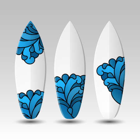 waves pattern: Surfboards Design Template with Waves Pattern Illustration