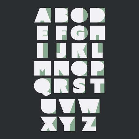 digital art: Paper Cut Alphabet Set  Minimal Letters Design Illustration