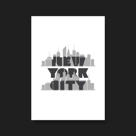 tshirts: New York City  Bold Typographic Design for Flyer Book Cover or Screen Print TShirt Design Illustration