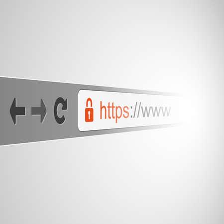 3D Browser Address Bar Design with HTTPS Protocol Sign