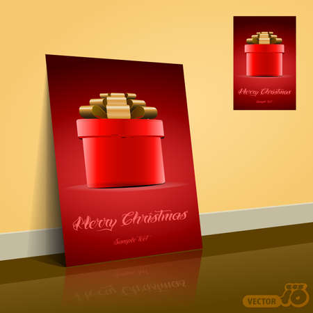 Red Gift Box for Christmas  Flyer Or Cover Design
