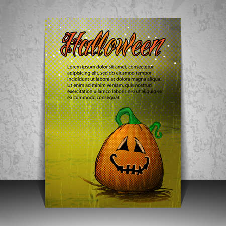 halloween flyer: Halloween Flyer or Cover Design with Smiling Pumpkin