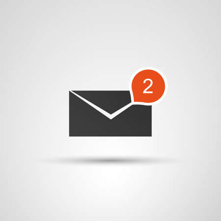 Mail Receive Icon  Flat Design Concept with Envelope and Bubble Vector