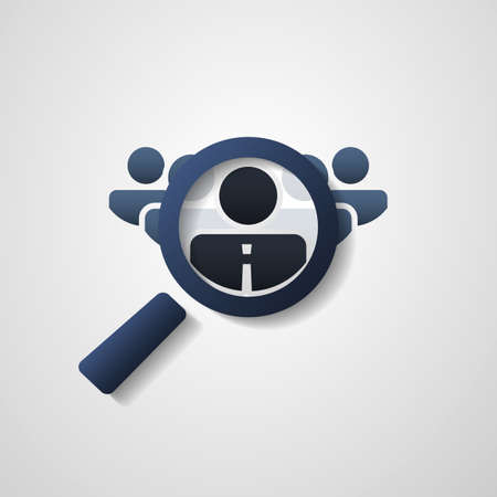 lookup: Human Resources  Personal Audit  Headhunter Symbol Design with Magnifying Icon