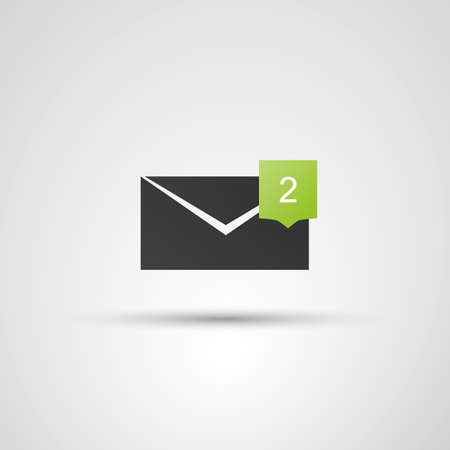 Mail Receival Icon  Flat Design Concept with Envelope and Bubble Vector