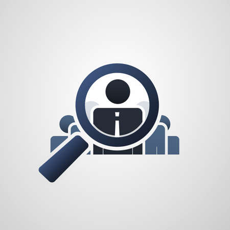 crm: Human Resources  Personal Audit  Headhunter Symbol Design with Magnifying Icon