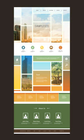One Page Website Template with Blurred Background  Mosaics Illustration