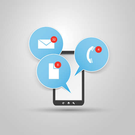 talk bubble: Smart Phone Design with Icons Illustration