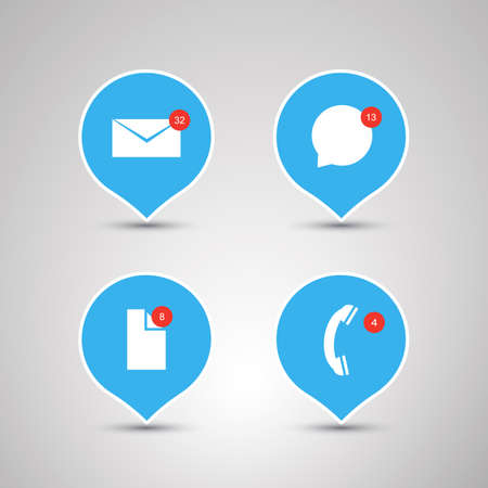 unread: Speech Bubble Designs  Flat Design Concepts with Envelope Speech Bubble File and Phone Icons  Mobile App Concept Illustration