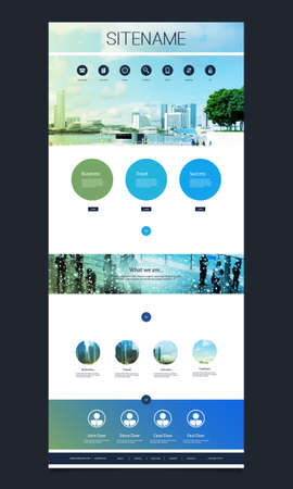 One Page Website Template with Skyline Header Designs Illustration