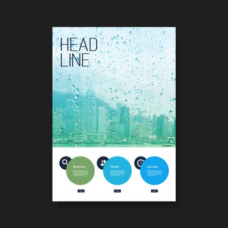 rain drop: Flyer or Cover Design - Skyscrapers in the Rain Illustration