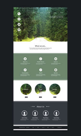 One Page Website Template with Header Design  Green Forest