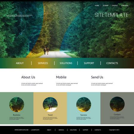 One Page Website Template met Natural Header Ontwerp Groene Woud