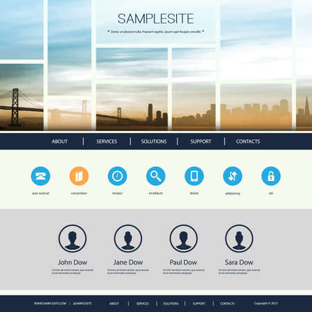 web design bridge: Website Design for Your Business with Cityscape Skyline Illustration