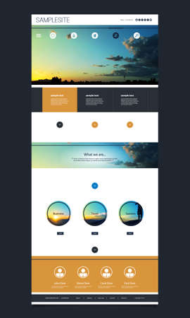website header: One Page Website Template with Header Design - Sunset Theme Background
