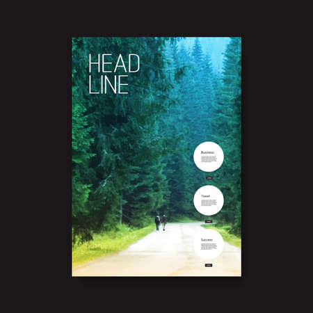 Flyer or Cover Design with Green Road in the Forest Background