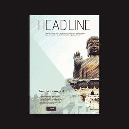 hong kong street: Flyer or Cover Design with Buddha Statue