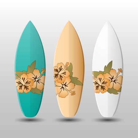 surfboards: Surfboards Design Template with Flowery Pattern