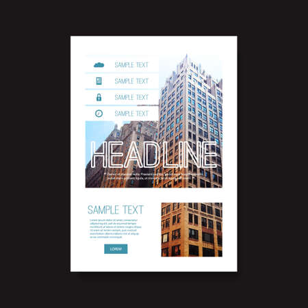informative: Flyer or Cover Design with Skyscraper Background