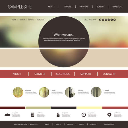 website header: Website Template with Abstract Blurred Header Design Concept Illustration