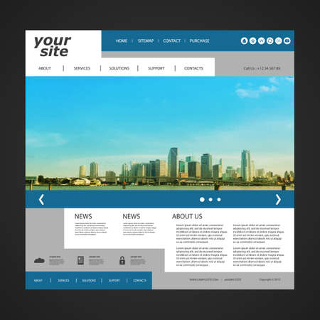 Website Template with Unique Design  Miami Skyline  イラスト・ベクター素材