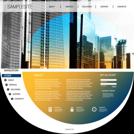 page design: Website Template with Unique Design - Cityscape Skyline