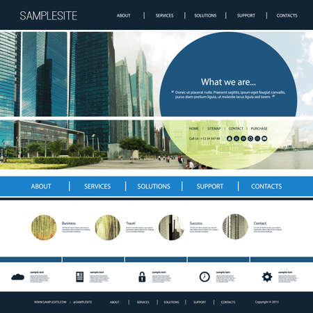 Website Template with Cityscape Header Design Concept