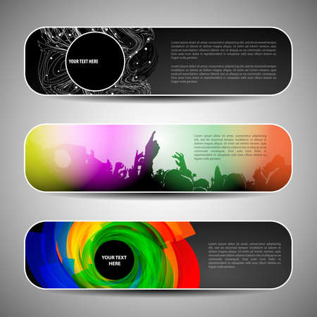entertainment: Colorful Banner Set Vector Illustration