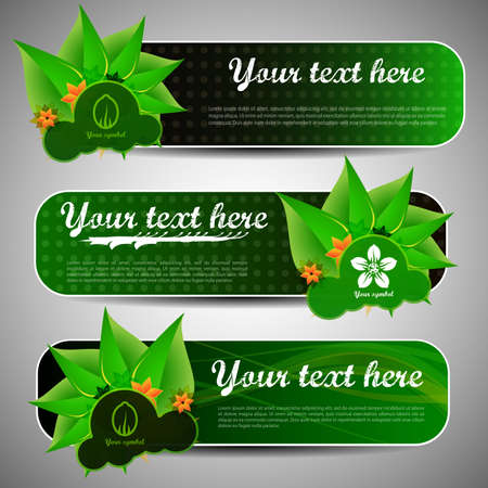 nature beauty: Green Eco Floral Banners Illustration