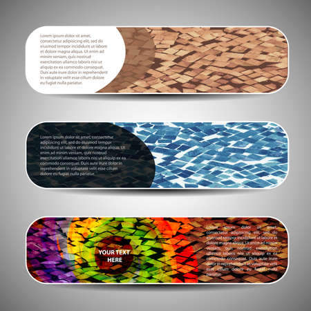 curved: Multicolored Banner Set Illustration