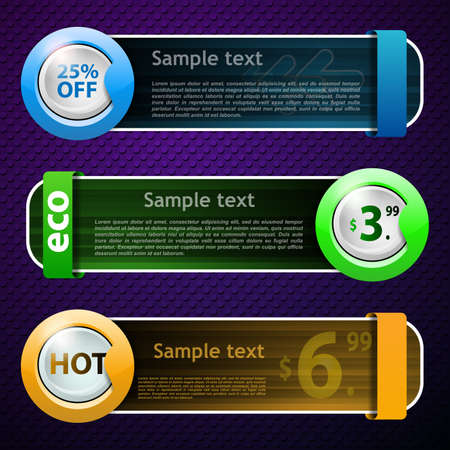 vector button: Multicolored Banner Set Illustration