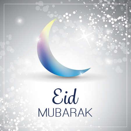 ramadan mubarak card: Eid Mubarak - Moon in the Sky - Greeting Card for Muslim Community Festival