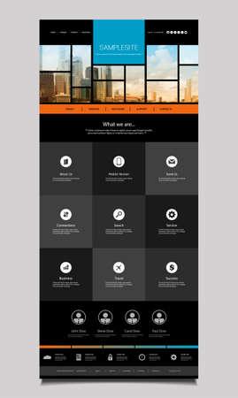 singapore skyline: One Page Website Template with Singapore Skyline Header Design