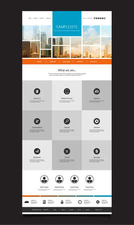 One Page Website Template with Cityscape Skyline Header Design