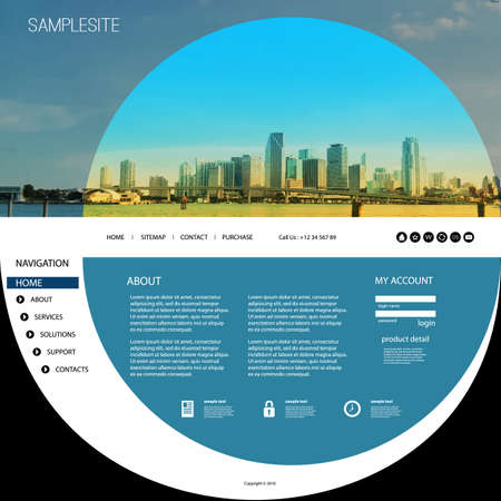 page design: Website Template with Unique Design - Miami Skyline