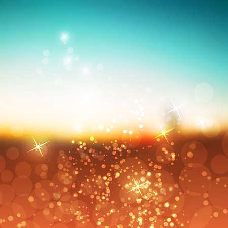 bokeh background: Sparkling Cover Design Template with Abstract Blurred Background