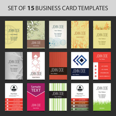 address: Set of 15 Colorful Vertical Business Cards