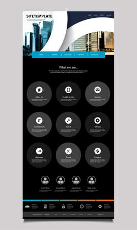 web template: One Page Website Design for Your Business with Skyscrapers Background Illustration